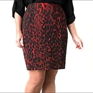 LANE BRYANT red cheetah print pencil skirt